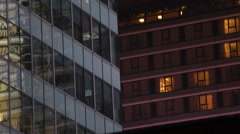 Residential Apartment Building Establishing Shot New York City Office Work Night Stock Footage