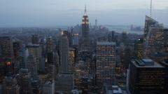 Illuminated Night Dusk Lights Big Apple New York City Skyline Establishing Shot Stock Footage
