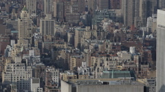 Aerial View Crowded New York City Looking Down Above Buildings Establishing Shot Stock Footage