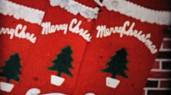 Merry Christmas Stockings And Xmas Tree-1954 Vintage 8mm film - stock footage