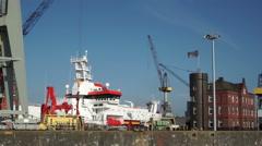 Docks in Hamburg habor Stock Footage