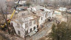 Demolition of old buildings. Time lapse. Stock Footage