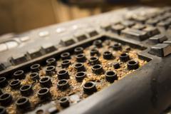 dirty computer keyboard - stock photo