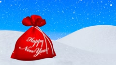 Red bag with Happy New Year sign under snowfall - stock footage