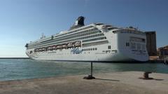 Livorno Italy Port harbor cruise ship 4K 065 Stock Footage