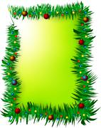 Christmas green frame - stock illustration