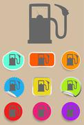 Gas station fuel pump black icon set Stock Illustration