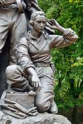 Memorial to warrior scout (fragment). victory park, kaliningrad, russia Stock Photos