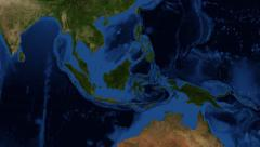 Indonesia from space - zoom Stock Footage