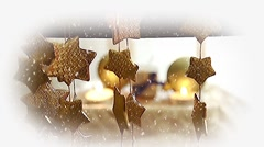Christmas Ornaments and Snow Fall - stock footage