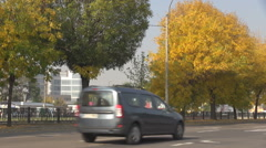 Weekend day car traffic in town, few vehicles driving, fall season great trees Stock Footage