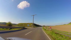 Driving countryside summer, blue sky no clouds, empty road ride, click for HD - stock footage