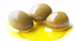 Olives in the oil Stock Footage