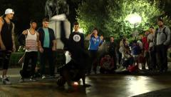 0535 Break dancers in the night. Union Square, Manhattan - stock footage
