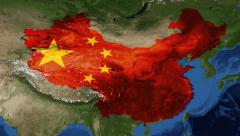 China from space with flag - zoom Stock Footage