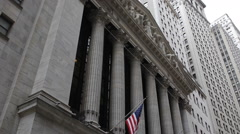 American Flag National Landmark NYSE New York Stock Exchange Building Facade NYC - stock footage