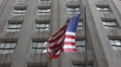 American USA Flag National Proud NYSE Market Capitalization Building Background - stock footage