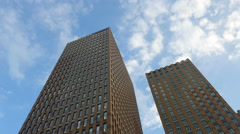 Twin tower Amsterdam low angle shot Stock Footage