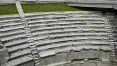 Excavations of ancient amphitheatre, Plovdiv town. - stock photo