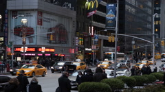 Dusk Light Night Busy Avenue Rush Hour Commuters Commuting New York City Street Stock Footage