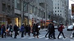People Crossing Busy Intersection Crosswalk Crowd Walk Yellow Cabs New York City - stock footage
