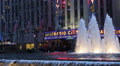 Rockefeller Fountain Colorful Sixth Americas Avenue Night Lights Sightseeing NYC Footage