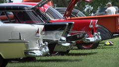 Classic cars lined up Stock Footage
