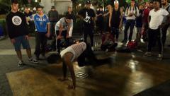 0536  Break dancers in the night. Union Square, Manhattan Stock Footage