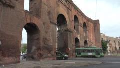 Roman Tram, traffic through Porta Maggiore, Rome Stock Footage