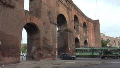 Roman Tram, traffic through Porta Maggiore, Rome  4K Stock Footage
