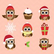 Christmas and New Year's owls in funny costumes Stock Illustration