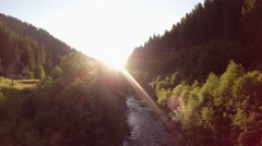Stock Video Footage of sunset, mountain forest, river, and the house on the hill