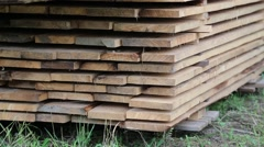 Wooden boards for the building of a wooden house Stock Footage