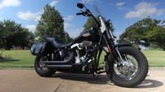 Custom Harley on a sunny day Stock Footage