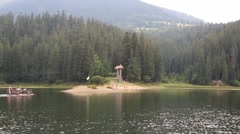 Lake Synevir in Carpathian Mountains of Ukraine Stock Footage