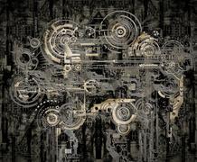 technically electronic background - stock illustration
