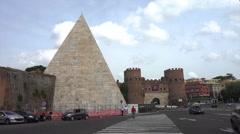 Pirimade - Pyramid, Porta San Paolo, Rome Stock Footage