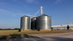 Large grain bins Stock Footage