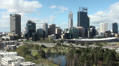 Perth's skyline from Kings Park, Australia Stock Footage