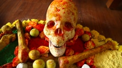 Black magic with skull and bones Stock Footage