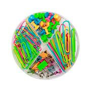 Paper clips and push-pins in a box Stock Photos