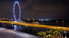 Timelapse Singapore Flyer at night Stock Footage