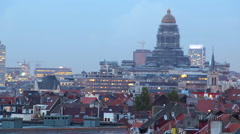 Day to night Brussels time-lapse, city skyline long exposure, click for HD Stock Footage