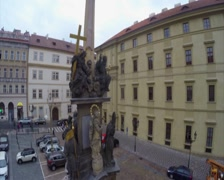 Prague old city religious monument lookout to Praha hrad castle, click for HD - stock footage
