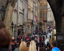 Old town in Prague, city tourists on weekend day, Czech, click for HD - stock footage