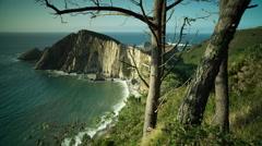 Playa del silencio asturias spain beach hidden coast ocean sea Stock Footage