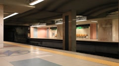 Rossio Metro Station, Subway pulling in Stock Footage