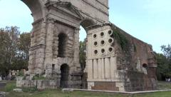 Baker's Tomb, Porta Maggiore, Tram in bg, push in near end Stock Footage