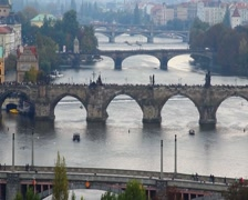 Bridges of Prague, European architecture, tourists on Charles, click for HD - stock footage
