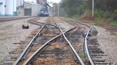 Railroad tracks in a Coop yard - stock footage